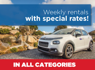 Weekly car rentals in Tinos, Greece