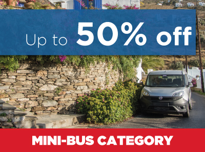 50% discount on car rentals - Vans and mini buses in Tinos, Greece